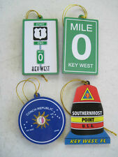 SouthernMost Point Key West Mile 0 US 1 Conch Republic Ornaments Set 4 Free Ship