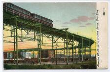 Elevated Railroad Curve Train 110th Street New York City postcard