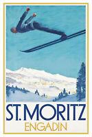St. Moritz Engadin Skispringen Blechschild Schild Tin Sign 20x30cm CC0404