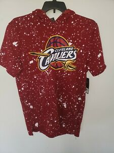 NEW Cleveland Cavaliers Cavs Red & White splattered Short Sleeve Hoodie SZ Large