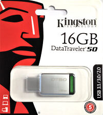 Kingston 16 GB DataTraveler 50 USB 3.1 Flash Pen Drive Tarjeta de memoria