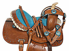 PRO 10 12 13 TURQUOISE WESTERN PONY TRAIL SHOW YOUTH CHILD KIDS SADDLE TACK SET
