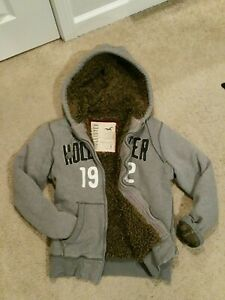 Hollister Abercrombie Heavyweight Full Zip Fur Hoodie Coat Jacket Gray Men Small