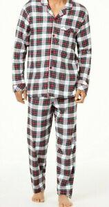 Family Pajamas Men's Stewart Plaid Family Pajama Set White Size S