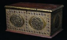 19th Century, Mandalay, Antique Burmese Wooden Chest with Gilded Gold and Glass