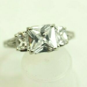 Cute Ladies 3 Stone 2.5 carat Cubic Zirconia Ring Sterling Silver size 6.5
