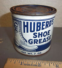 Vintage Huberds shoe grease 7 oz tin, partially full, great graphics & colors