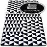 6Größen Modern Weich Teppich SKETCH F765 schwarzweiß Dreiecke Quadrate Modisch