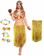Hawaiian Tropical Beach Theme Party Girl 5pc Lei Grass Hula Luau Skirt Outfit