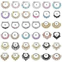 36-Styles Septum Clicker Nose Rings Hinged Segment Ring Crystal Gem Body Jewelry