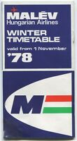MALEV HUNGARIAN AIRLINES TIMETABLE WINTER 1978