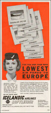 1954 vintage air travel AD ICELANDIC Airlines Lowest fares to Europe 102217