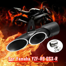 For Yamaha YZF-R6 36-51mm Dual Outlet Slip-on Exhaust Muffler Tail Pipe Black