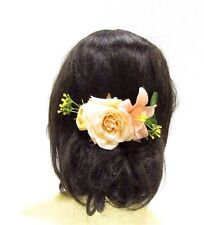 Ivory White Orchid Rose Gypsophila Flower Hair Comb Green Fern Leaf Clip 1588