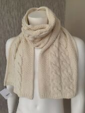 Hackett Cream Wool & Cashmere Moss Stitch Cable Scarf Retail Made in Italy
