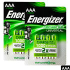 8 x Energizer AAA batteries Rechargeable Universal 500mAh Accu NiMH HR03 4 Pack