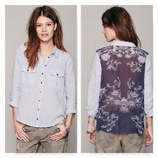 Free People Stripe Print Back Buttondown shirt top blouse striped floral small