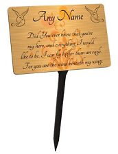 Personalised Memorial Plaque & Stake. Wind Beneath My Wings Lyric Brushed Gold