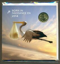 Born in 2014 Baby 5 Coin Gift Set with Struck Stork Bird Loonie $1