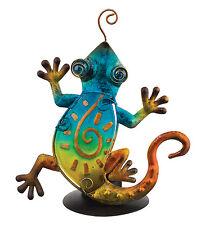 Gecko Glass Metal Tea Light Candle Holder NEW votive green blue southwest lizard