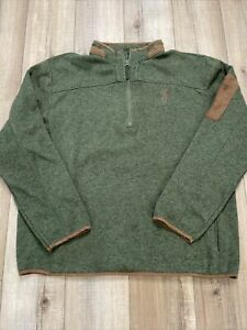 Browning Men's XXL 1/4 Zip Pullover - Green with brown Trim - Thick