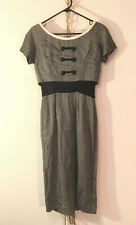 classic & chic! grey w/ black and cream trim, semi-lined. 1950s. V good, Size S