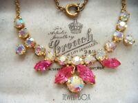 VINTAGE Beautiful  Pink Sapphire CRYSTAL Aurora Borealis RHINESTONE NECKLACE