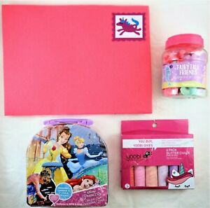 Pink Princess Unicorn Kids Girls Fun Play Pack Glitter Chalk Figurines & More