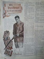 1953 Pendleton Clothing Fasgion Man Riffle Original Ad
