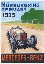 Mercedes Benz 1935 Nurburgring Modern colour postcard by Santoro Graphics