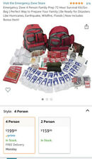 Emergency Zone 4 Person Family Prep 72 Hour Survival Kit/Go-Bag | Perfect Way
