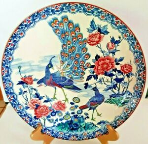 """Asian Ceramic Peacock & Peahen Wall / Cabinet Plate Home Décor Vintage 12 1/2"""""""