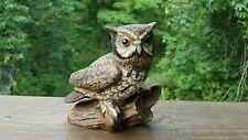 Vintage Ceramic Painted Barn Screeching OWL Statue Figurine Wildlife Bird Brown