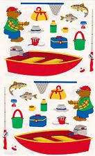 Mrs. Grossman's Giant Stickers - Fishing Bear - Boat, Net, Tackle Box  -2 Strips