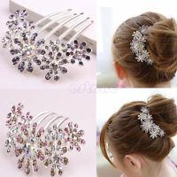 Elegant Rhinestone Crystal Flower Pattern Bridal Hair Tuck Comb Clip Pin