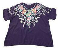 MissLook Short Sleeve Top Blouse Women's XL Purple Embordered Floral