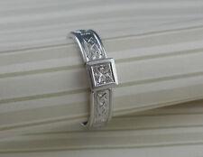 14K White Irish Celtic Claddagh Diamond Engagement Ring  SIZE 7.5 Ireland FADO