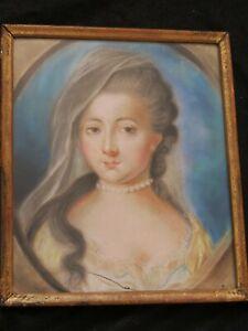 """Magnifique pastel  ancien """"portrait de jeune femme """"   Rosalba Carriera  au dos"""