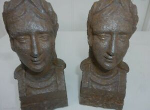 TWO FRENCH ANTIQUE CAST IRON ANDIRONS 19TH CENTURY MARIANNE