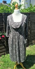 White Stuff Jersey Dress - Cowl Neck - Grey With Floral Pattern & Tie-Up - UK 14