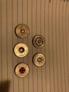 $2 Coloured Australian Coin Collection Mixed. 5 Coins