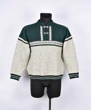 Devold 1/4 Boutons Hommes Vintage Look Laine Pull Taille M, Véritable