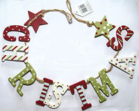 Chic & Shabby Christmas Wooden Garland Red Green White Vintage Wall Decoration