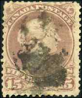 Canada #29b used F 1868 Queen Victoria 15c red lilac Large Queen CV$80.00