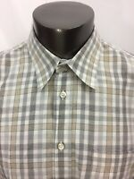 Mens Canali Brown Plaid Button Front Shirt Made in Italy Size XL