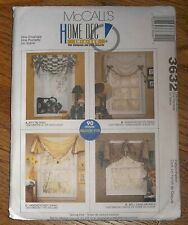 McCall's 3632 Jiffy, Handkerchief Swag Valance Window Curtain Home Decor Pattern