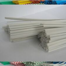 "100pcs Plastic/Paper coated WHITE 7"" x 1/4"" Twist Ties - won't rip or pull off"