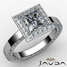 Princess Diamond Engagement Halo Pave Set Ring GIA I SI1 18k White Gold 2.97ct