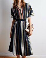 AUTH TED BAKER SAFIIYA Short sleeved striped midi dress, 0-5