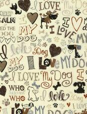 Pet Fabric - I Love My Dog Words on Cream - Timeless Treasures YARD